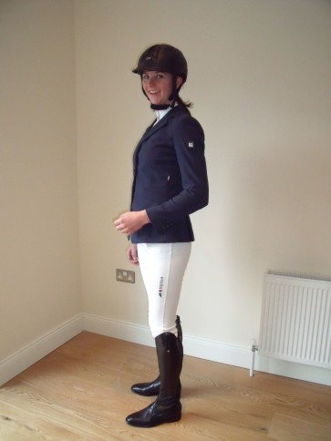 Equiline Lady Boston Breech in white, customised with logo on leg